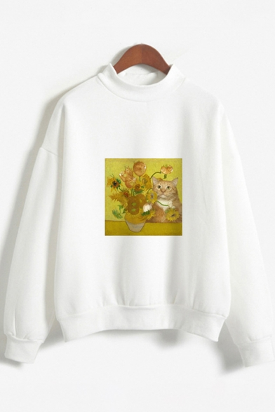 Girls Stylish Long Sleeve Crew Neck Cat Floral Printed Relaxed Fit Pullover Sweatshirt, Pink;white, LC614902