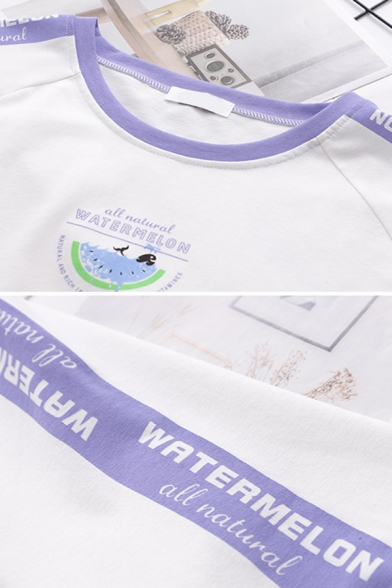 Letter Watermelon Graphic Contrasted Short Sleeve Round Neck Regular Fitted Fashionable T-Shirt for Girls