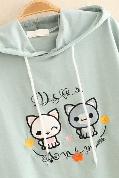 Lovely Girls Short Sleeve Hooded Drawstring Bear Embroidered Loose Fit T Shirt