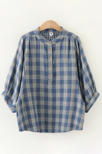Plaid Pattern Batwing Sleeves Stand Collar Button up Loose Fit Casual Shirt Top