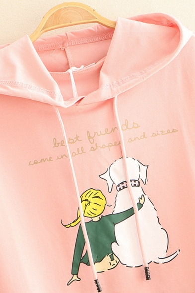 Preppy Looks Short Sleeve Hooded Drawstring Letter Cartoon Girl and Dog Graphic Pouch Pocket Loose Tee for Girls