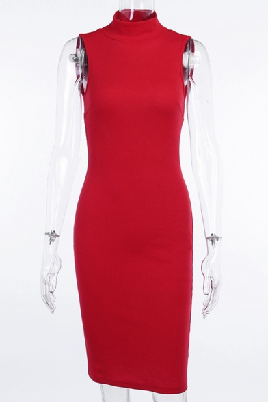 Sexy Solid Color Sleeveless Mock Neck Open Back Midi Bodycon Dress for Ladies