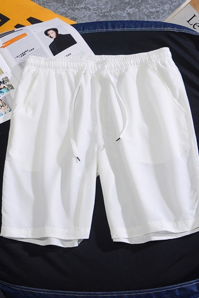 Simple Boys Drawstring Waist Solid Color Straight Shorts