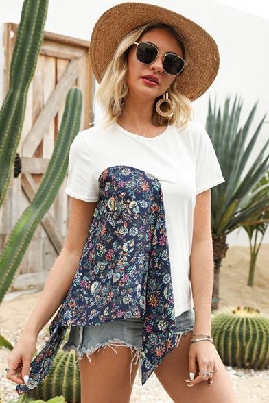Stylish Womens White Short Sleeve Round Neck Flower Print Patchwork Regular Fit Tee Top