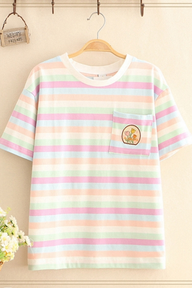 Summer Cute Womens Short Sleeve Crew Neck Floral Embroidery Striped Chest Pocket Relaxed Tee Top