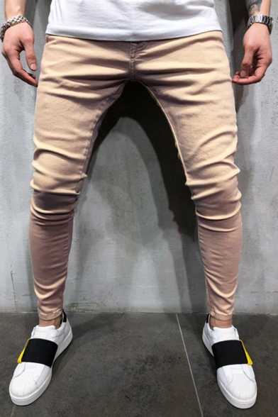 Casual Daily Mens Mid Rise Ankle Length Solid Color Slim Fitted Pants in Khaki