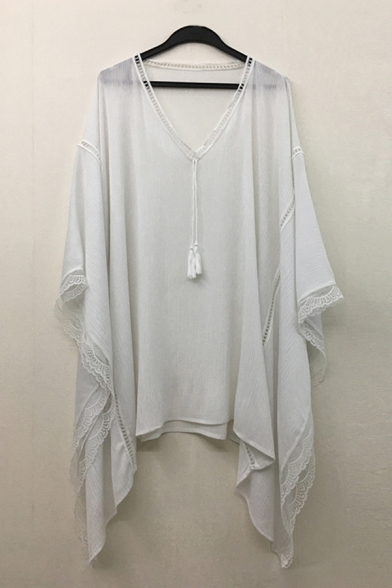 Casual Fashion Womens Batwing Sleeve V-Neck Tassel Lace Trim Short Oversize Holiday Dress in Beige