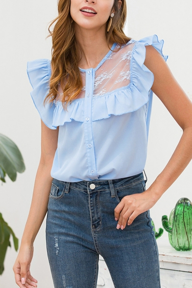 Popular Pretty Womens Sleeveless Round Neck Button Down Ruffled Trim See-Through Mesh Panel Curved Hem Loose Shirt in Light Blue