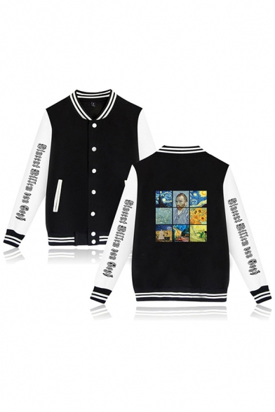 Womens Trendy Long Sleeve Button Down Letter Print Oil Painting Graphic Striped Colorblock Regular Fit Baseball Jacket