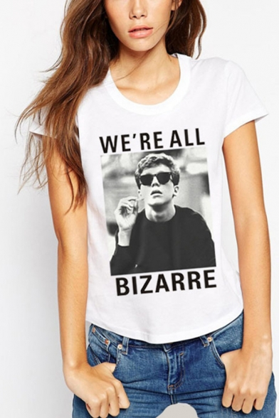 Chic Simple Womens Short Sleeve Round Neck Letter WE'RE ALL BIZARRE Graphic Regular Fit T Shirt in White