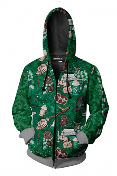 Creative Guys Long Sleeve Drawstring Zip Up All Over Cartoon Letter SLYTHERIN 3D Graphic Contrast Loose Hoodie