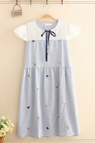 Cute Girls Short Sleeve V-Neck Bow Tie Lace Patched Cartoon Embroidery Stripe Print Midi Swing Dress