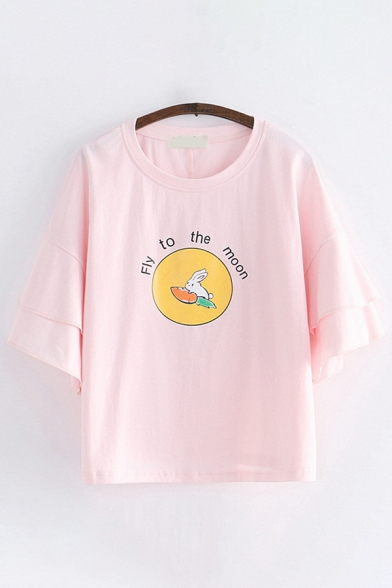 Cute Womens Letter Fly to The Moon Rabbit Graphic Ruffled Tiered Half Sleeves Round Neck Relaxed T-Shirt