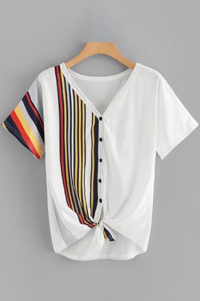 Popular Womens Short Sleeve V-Neck Button Down Stripe Leopard Geo Print Tied Hem Relaxed T-Shirt