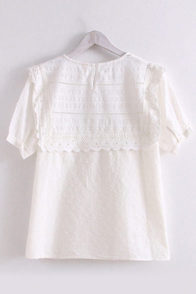 Pretty Girls Short Sleeve Hollow out Lace Embroidery Patched Round Neck Relaxed Fit Shirt