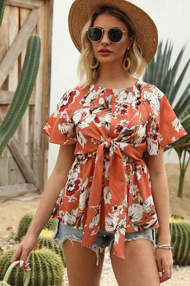 Pretty Womens Orange Bell Sleeve Round Neck All Over Flower Print Bow Tie Front Split Fitted Blouse