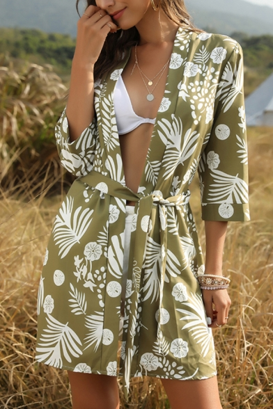 Stylish Beach Girls Three-Quarter Sleeve Open Front All Over Floral Print Chiffon Relaxed Cardigan