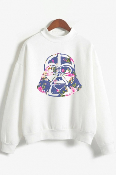Chic Womens Long Sleeve Mock Neck Cartoon Flower Pattern Relaxed Fit Pullover Sweatshirt, Pink;white, LC615741