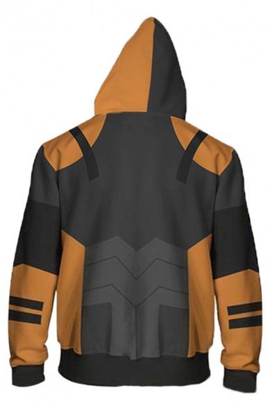 Cool Mens Long Sleeve Zip Up Drawstring Stripe Geo 3D Cosplay Pattern Colorblock Loose Hoodie in Yellow