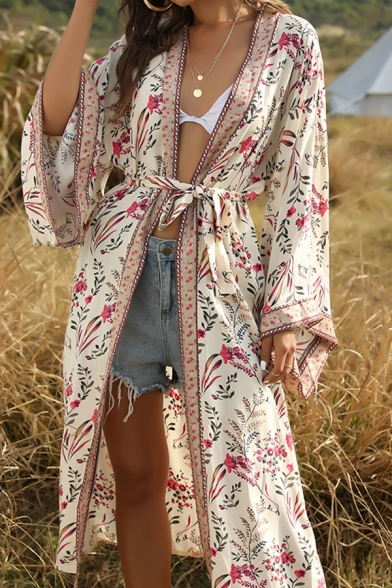Holiday Womens Bell Sleeve Bow Tie Waist Flower Allover Pattern Contrasted Longline Oversize Boho Cardigan