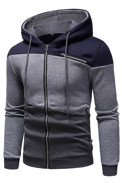 Leisure Trendy Boys Long Sleeve Drawstring Zipper Front Colorblock Patchwork Fit Hoodie