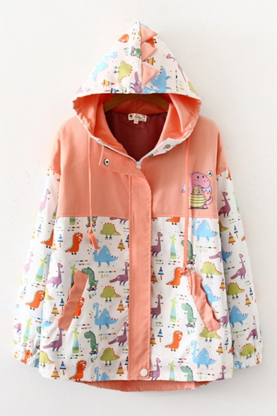 Popular Womens Long Sleeve Hooded Zipper Front Drawstring Cartoon Dinosaur Pattern Colorblock Relaxed Fit Jacket