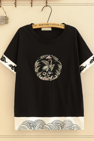 Vintage Short Sleeve Round Neck Crane Floral Embroidered Cloud Pattern Contrasted Loose Tee for Girls