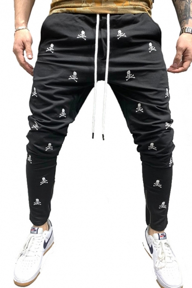 All over Skull Printed Drawstring Waist Ankle Trendy Pencil Pants for Boys