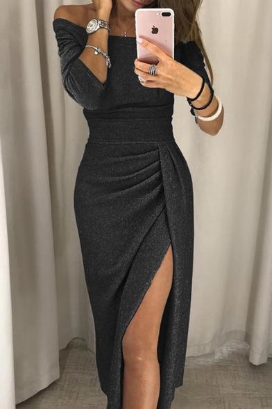Amazing Womens Plain Three-Quarter Sleeve Off the Shoulder Glitter High Cut Patched Pleated Sheath Dress