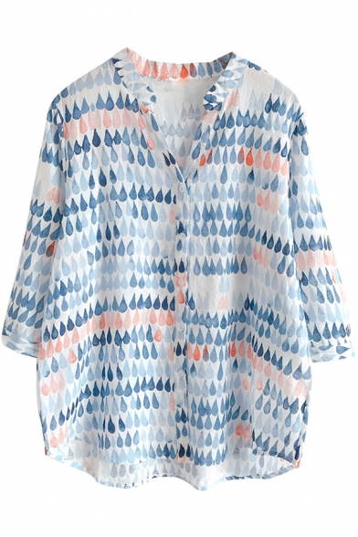 Casual Womens Three-Quarter Sleeve V-Neck All Over Water Drop Print Relaxed Fit Shirt Top in Blue