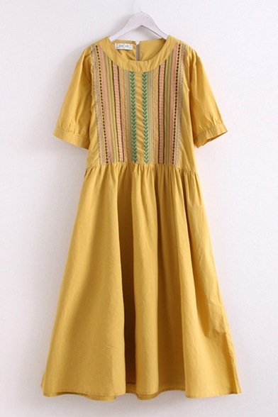 Ethnic Ladies Linen Floral Embroidery Short Sleeve Round Neck Long Pleated Swing Dress