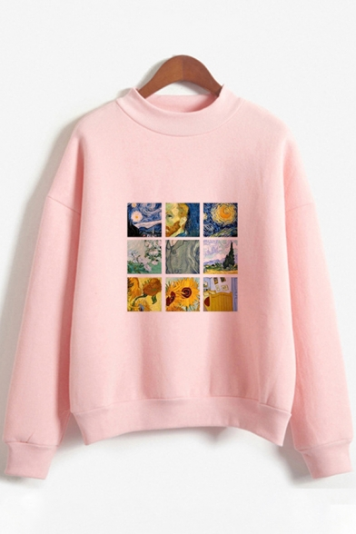 Fashion Womens Long Sleeve Crew Neck Floral Printed Loose Fit Pullover Sweatshirt