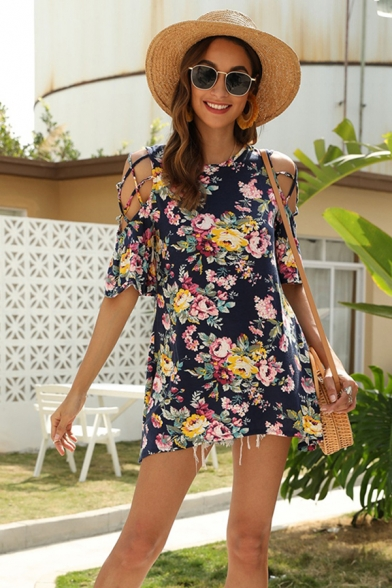 Gorgeous Fashion Womens Dark Blue Bell Sleeve Round Neck Hollow Out Shoulder All Over Flower Print Loose Boho T Shirt