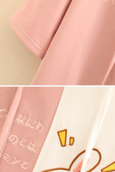 Kpop Girls Three-Quarter Sleeve Hooded Drawstring Japanese Letter Rabbit Graphic Colorblock Relaxed Tee Top
