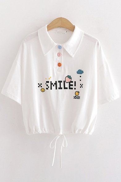 Letter Smile Cartoon Strawberry Graphic Half Sleeves Point Collar Colorful Button up Drawstring Hem Cropped Relaxed Chic Polo Shirt in White