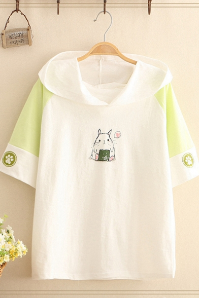 Stylish Fancy Short Sleeve Hooded Rabbit Footprint Printed Colorblocked Relaxed T Shirt for Women