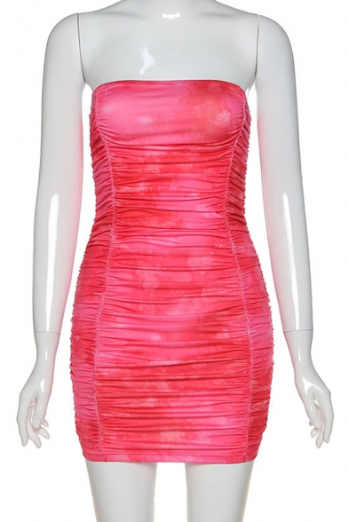 Fabulous Strapless Tie Dye Print Backless Ruched Skinny Mini Tube Dress in Watermelon Red