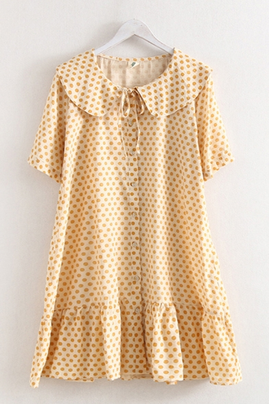 Popular Pretty Ladies Short Sleeve Peter Pan Collar Button Up Tied Front Ruffled Polka Dot Print Short Swing Dress