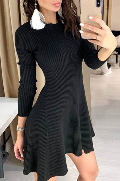 Stylish Edgy Ladies Solid Color Long Sleeve Crew Neck Knitted Asymmetric Hem Mini Pleated A-Line Dress