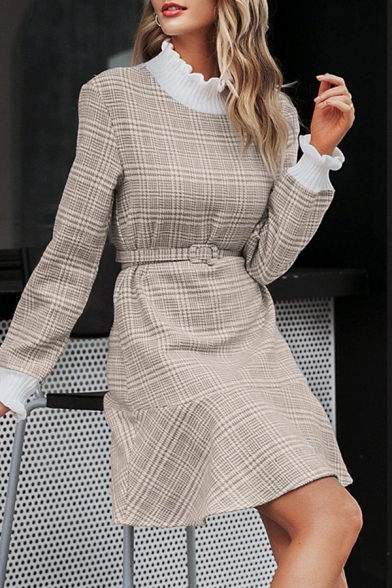 Unique Fashion Womens Camel Long Sleeve High Neck Stringy Selvedge Knitted Patched Bow Tie Waist Plaid Print Ruffled Short Pleated A-Line Dress