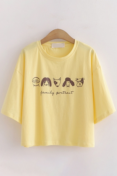 Cartoon Dog Letter Family Portrait Graphic Half Sleeve Round Neck Relaxed Fit Cute T-Shirt for Girls