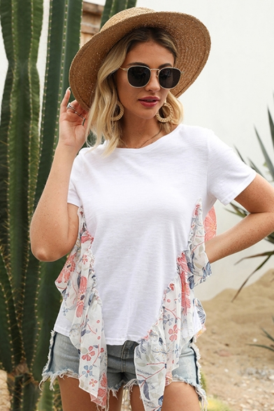 Casual Chic Womens Short Sleeve Round Neck Floral Print Mesh Ruffled Patched Relaxed Fit T-Shirt in White