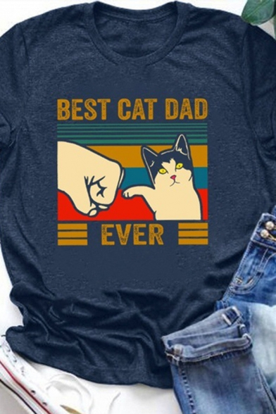 Casual Girls Rolled Short Sleeve Crew Neck Letter BEST CAT DAD EVER Cat Graphic Regular Fit T Shirt, Brown;dark blue, LC615519