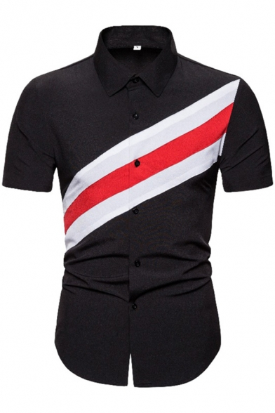 Cool Guys Black Short Sleeve Point Collar Button Up Striped Contrasted Patchwork Curved Hem Slim Fit Shirt