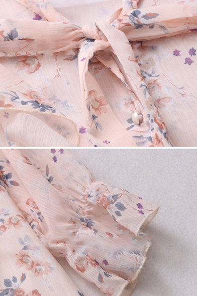 Gorgeous Ladies Ditsy Floral Print Bell Sleeves Bow Tie Neck Ruffled Trim Pearl Button down Loose Fit Blouse in Pink