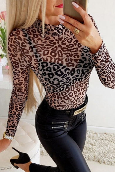 New Stylish Womens Brown Long Sleeve Mock Neck Leopard Printed Semi-Sheer Mesh Fitted T Shirt