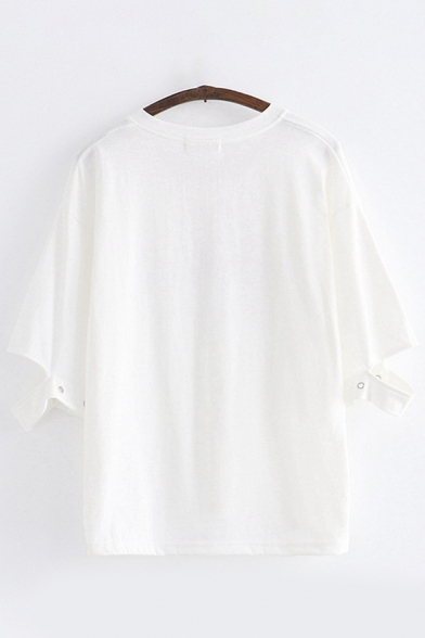 Trendy Womens Cut out Eyelet Half Sleeves Bow Tied Fringe Round Neck Japanese Letter Print Loose Fit T Shirt