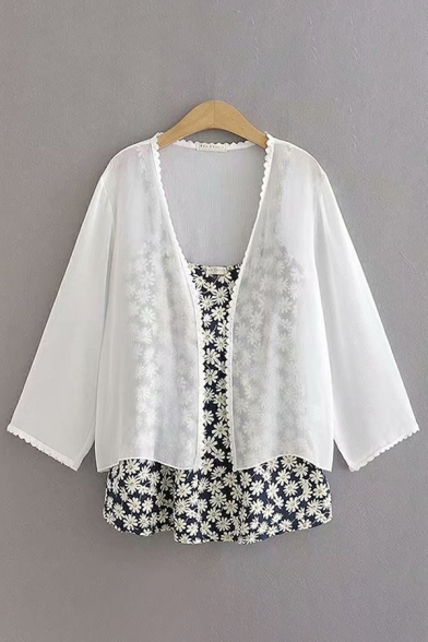 White Solid Color Chiffon Lace Trim Long Sleeve Open Front See-Through Sun Protection Loose Daily Jacket for Women