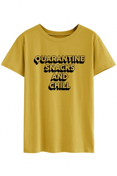 Casual Girls Short Sleeve Round Neck Letter QUARANTINE SNACKS AND CHILL Print Loose Tee Top