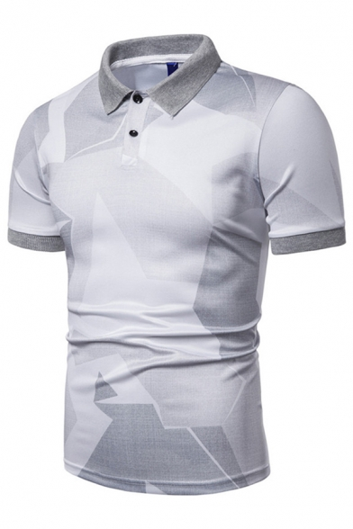 Casual Mens Short Sleeve Lapel Neck Button Up Colorblock Patterned Slim Fit Polo Shirt